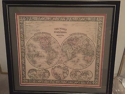 1860 World Map Hemispheres By Mitchell RARE ORIGINAL Matted & Framed