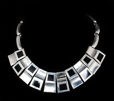 vintage Taxco Mexican silver modernist Necklace stunning Pineda style pectoral