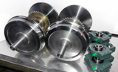 """Complete 7 1/4"""" Narrow Gauge Wheel-Sets with sprockets and bearings"""
