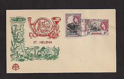St Helena FDC 1953 Queen Elizabeth 1 1/2 and 2 pence
