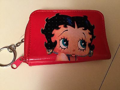 Betty Boop Bright Red Zip Around Wallet Coin Purse Card ID Holder Key Ring
