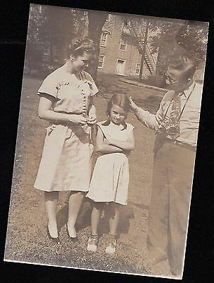 Antique Photograph Girl Wearing Saddle Shoes With Man & Woman Old Time Camera