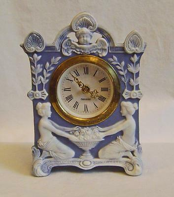 Antique Blue Jasper Ware  Clock Case  with Maidens & Cherub: Continental C.1900