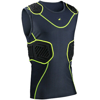 Champro Bull Rush Adult Football Compression Shirt - Charcoal Black (NEW)