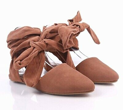 0eda3b4bc9da BAMBOO Camel Pointed Toe Lace up Womens Ballet Flats Design Faux Suede Shoes
