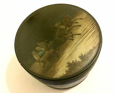 Antique Imperial Russian Lacquer Painted Tea Caddy Vishnyakov Troika Scene