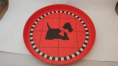 "Department 56 Red Scottie Red Tin Tray 11 5/8"" - Made in Hong Kong"