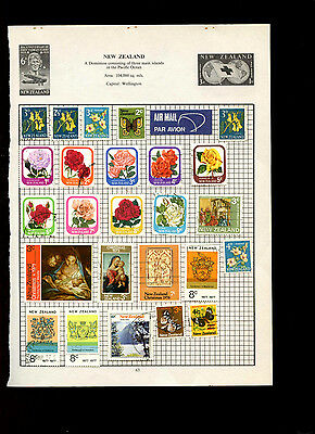New Zealand Album Page Of Stamps #V5011