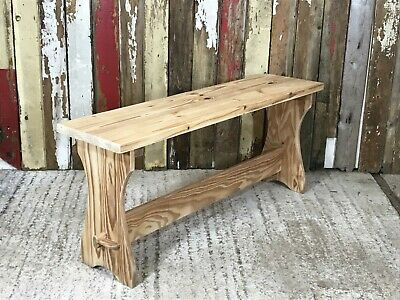 """Reclaimed Solid Natural Pine Kitchen Bench Stool 43 1/2"""" Long"""