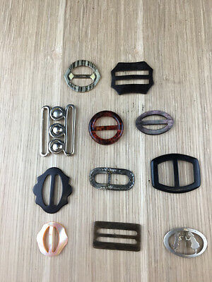 Collection Job Lot 11 X Vintage Belt Buckles-Various Materials And Design