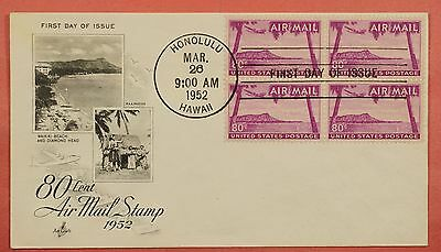 1952 Fdc Cover 80C Hawaii Airmail # C46 Block Of 4