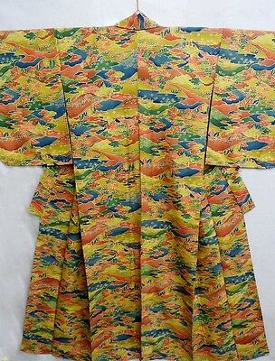 Vintage Japanese Yellow/Orange/Green 'Scenery' Silk Kimono/Coat/Robe/Dress 10-14