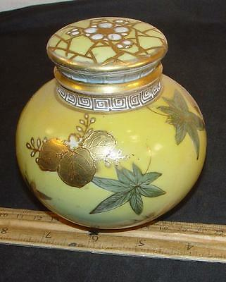 Antique Enameled Gold Decor Spice Ginger Jar Tea Caddy Germany Austrian Chinese