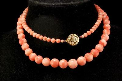 Antique Chinese Pink Coral Beads Gold Filled Clasp Necklace