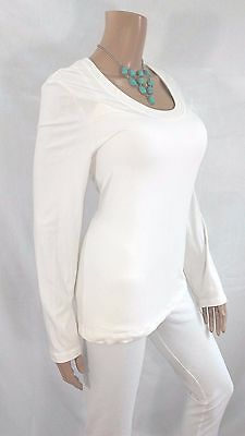 CHICOS  Womens Top Size 2 Ivory L/S Shirt Stretch Dressy Casual Summer