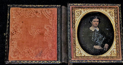 Vintage 1800's 1/9th Plate Daguerreotype/Seated Young Woman/Slight Tint/Wood Cas
