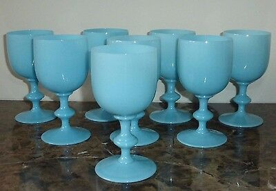 """8 Vintage Portieux Vallerysthal French Blue Opaline Water Goblets 6 1/2"""" High"""