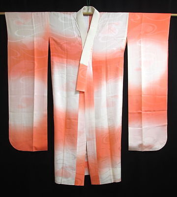 Vintage Japanese Light Orange/White Silk Furisode Juban/Under Kimono/Robe M/L