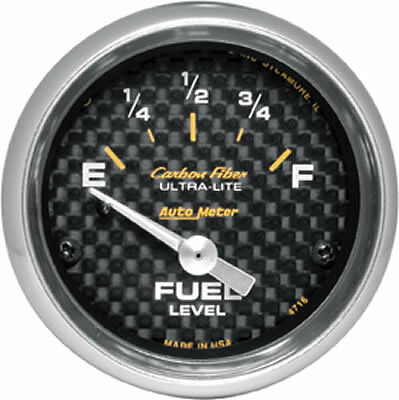 "AU4716 Auto Meter Carbon Fiber Fuel Level Gauge 2-1/16"" electrical"