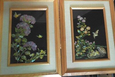 Pair Japanese Reverse Glass Artwork TOYO JAPAN Mother of Pearl Abalone inlaid