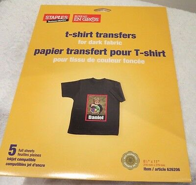 Staples T Shirt Transfer For Dark Fabric Package Of 5 Sheets Ink Jet Printers