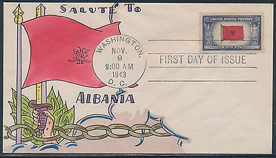 "#918 On Mae Weigand ""albania""  Hand Painted Fdc Cachet Bt8464"
