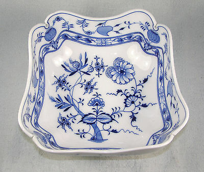 Large MEISSEN In Oval Blue Onion Pattern Square High Sided Bowl