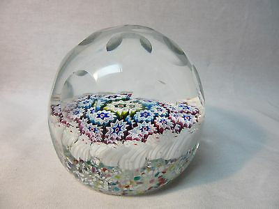 Vintage Millefiori Faceted Paperweight Multi Color Large Heavy Flower Canes