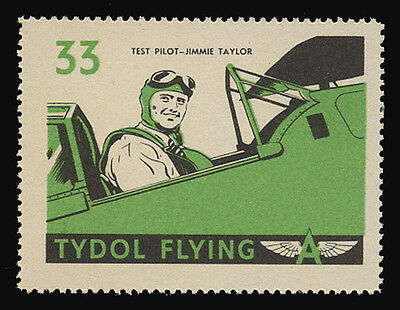 """Tydol Flying """"a"""" Poster Stamps Of 1940 - #33, Test Pilot - Jimmie Taylor"""