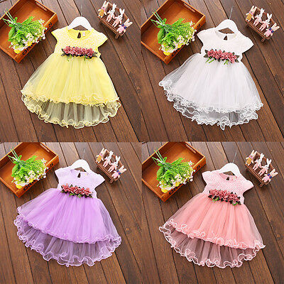 Toddler Baby Girls Summer Floral Dress Princess Party Wedding Tulle Dresses 0-3Y