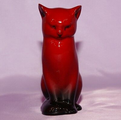 "Royal Doulton Flambe Cat ☆ 5.25"" Inches High Red / Black"