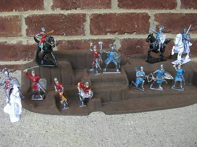 Painted Crusader Knights Cavalry Foot Toy Soldiers 60MM Middle Ages Set