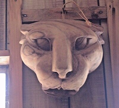 Big Cat Wood Carving Wooden Cougar Head Mountain Lion Puma Collectible Wall Art