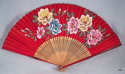 Vintage Handpainted Paper Hand Fan Roses Delicate Carved Wood Supports - Estate