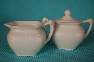 Vintage Crown Devon Fieldings England Florentine Cream & Sugar w/ handles