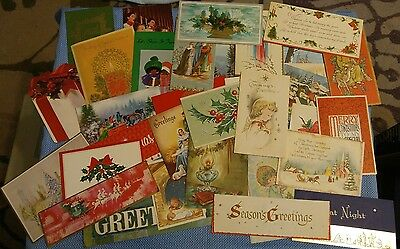 Vintage Lot #2 Used Christmas Greeting Cards 1950's - 1970's