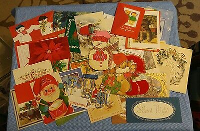 Vintage Lot Used Christmas Greeting Cards 1950's - 1970's #5