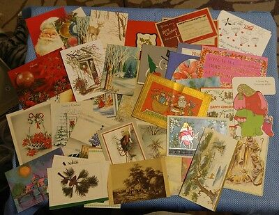 Vintage Lot Used Christmas Greeting Cards 1950's - 1970's # 6