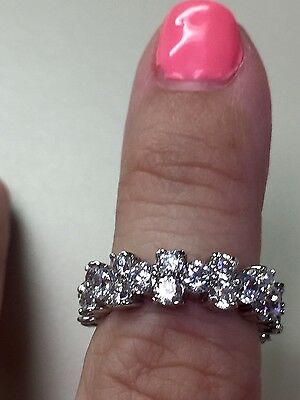 Victoria Wieck 10kt white gold filled topaz simulated diamond cluster ring Sz 9