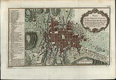 Quito Ecuador San Francisco South America 1756 Bellin old antique city plan map