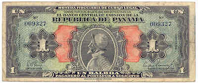 "1941 Republic of Panama P22a 1 Balboa ""Arias Issue"" Original Circulated Banknote"