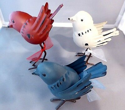 Americana Metal Birds Red White Blue Tabletop   Set Of 3   Brand New