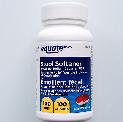 Equate Stool Softener Docusate Sodium 100mg Relieves Constipation 100 Softgels