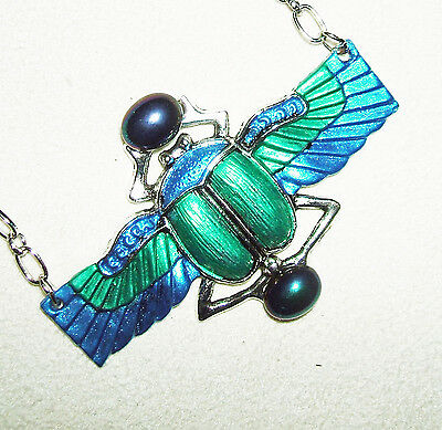 Egyptian SCARAB Necklace BEETLE WINGS Blue Green Glass Stones Art Deco Revival