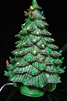 "Vintage Ceramic Christmas Tree With Base 16"" high 2 Part Lights Up artist signed"