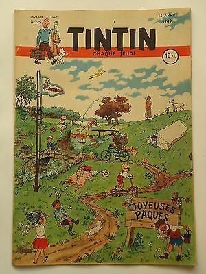 JOURNAL TINTIN n° 25  COUVERTURE DE HUSY  14/04/1949
