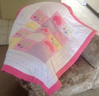 Morgan & Finch Kids Baby Girl Pink 100% Cotton  Patch Work Throw Quilt PreLoved