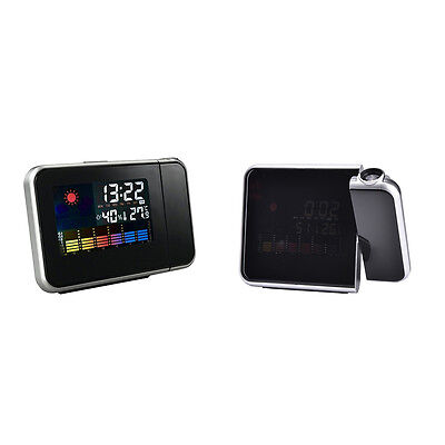 LCD Digital Projector Projection Alarm Clock Weather Station Calendar Snooze QW