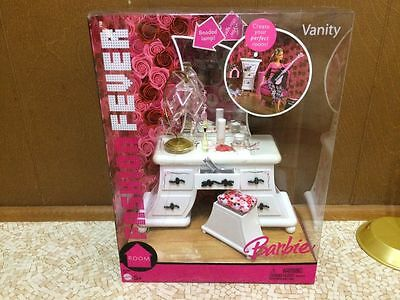Barbie Doll Fashion Fever Cherry Blossom Mirror Vanity Bedroom Home Furniture