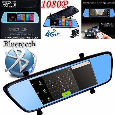 "7"" HD Android 4G WIFI GPS DVR Rear View Mirror Dash Cam Video Recorder Nav"